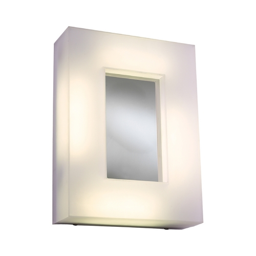 PLC Lighting Modern Sconce Wall Light with White Glass in Polished Chrome Finish 1018 PC