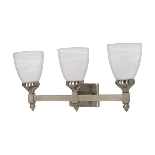 Nuvo Lighting Modern Bathroom Light with Alabaster Glass in Brushed Nickel Finish 60/593
