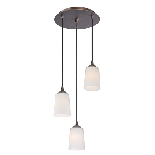 Design Classics Lighting Modern Multi-Light Pendant Light with White Glass and 3-Lights 583-220 GL1027