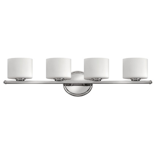 Hinkley Lighting Bathroom Light with White Glass in Chrome Finish 5424CM