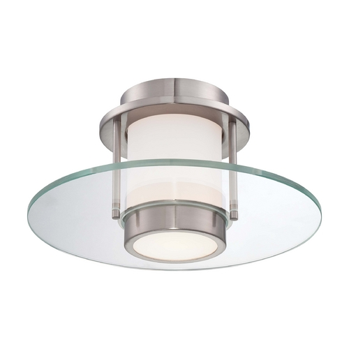 George Kovacs Lighting Modern Flushmount Light with White Glass in Brushed Nickel Finish P854-084
