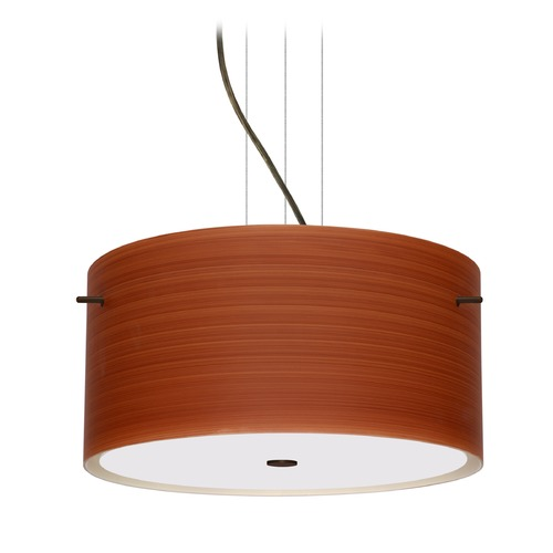 Besa Lighting Besa Lighting Tamburo Bronze LED Pendant Light with Drum Shade 1KV-4008CH-LED-BR