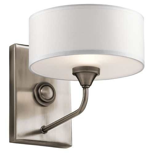 Kichler Lighting Mid-Century Modern Sconce Pewter Lucille by Kichler Lighting 43843CLP