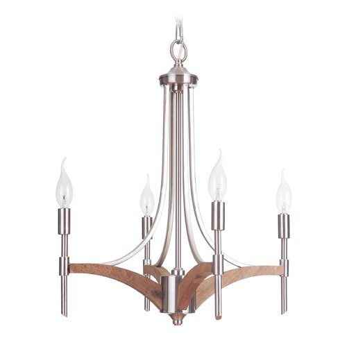 Craftmade Lighting Craftmade Lighting Tahoe Brushed Nickel/whiskey Barrel Mini-Chandelier 40324-BNKWB