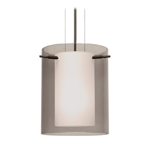 Besa Lighting Besa Lighting Pahu Bronze LED Mini-Pendant Light with Cylindrical Shade 1KG-S00607-LED-BR