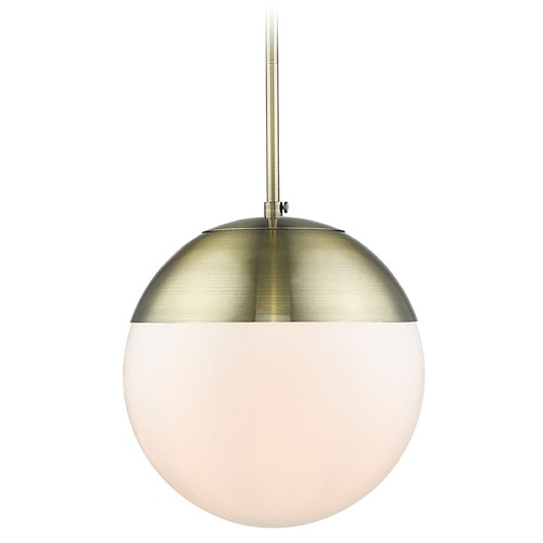 Golden Lighting Golden Lighting Dixon Aged Brass Pendant Light with Globe Shade 3218-LAB-AB