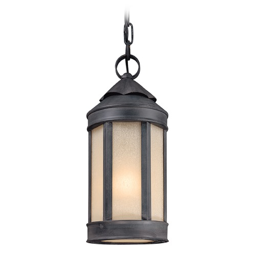 Troy Lighting Outdoor Hanging Light with White Glass in Aged Iron Finish F1467AI