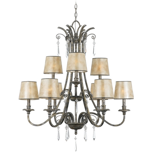 Quoizel Lighting Crystal Chandelier with Amber Mica Shades in Mottled Silver Finish KD5009MM