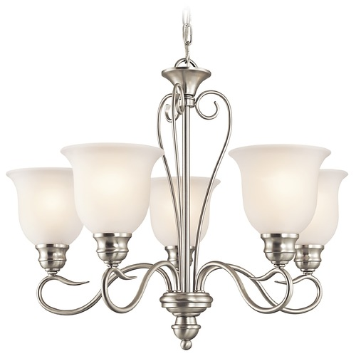Kichler Lighting Kichler Chandelier with White Glass in Brushed Nickel Finish 42906NI
