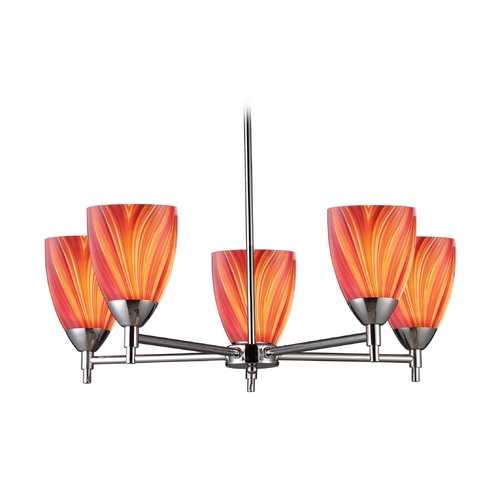 Elk Lighting Chandelier with Art Glass in Polished Chrome Finish 10155/5PC-M