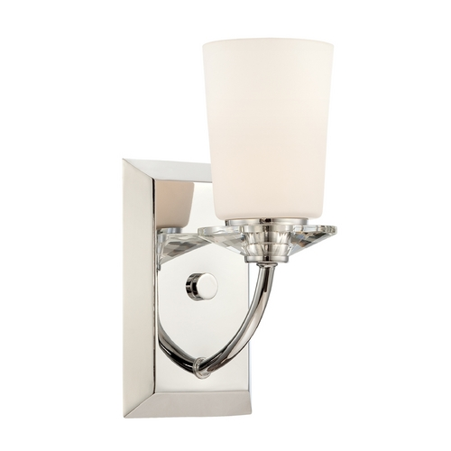 Designers Fountain Lighting Sconce Wall Light with White Glass in Chrome Finish 84201-CH