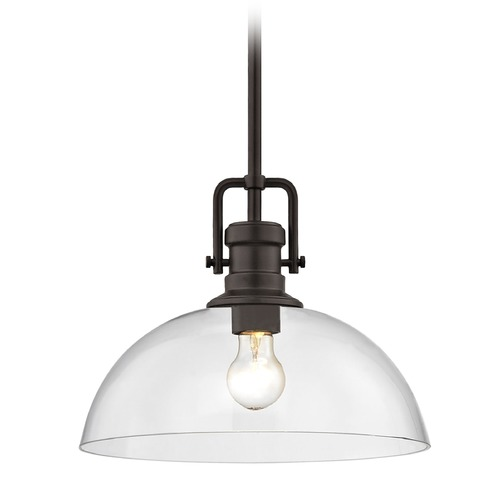 Design Classics Lighting Industrial Bronze Pendant Light with Clear Glass 13-Inch Wide 1763-220 G1785-CL