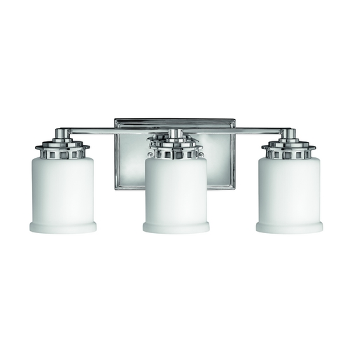 Hinkley Lighting Bathroom Light with White Glass in Chrome Finish 5193CM