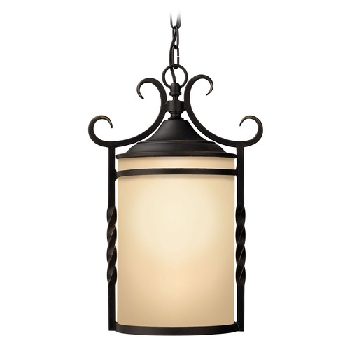 Hinkley Outdoor Hanging Light with Amber Glass in Olde Black Finish 1142OL