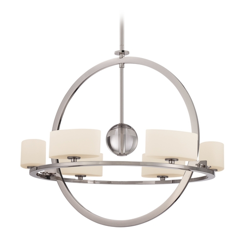 Quoizel Lighting Modern Chandelier with White Glass in Imperial Silver Finish UPCC5006IS