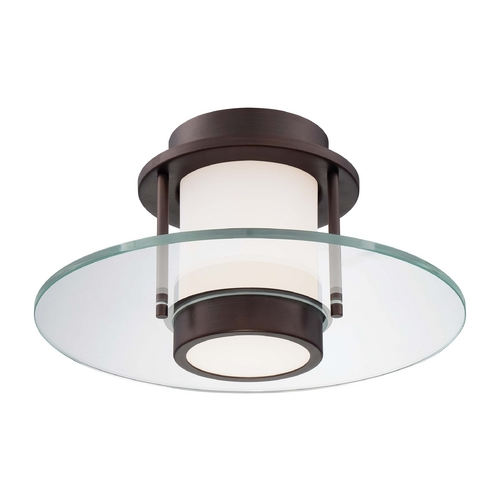George Kovacs Lighting Modern Flushmount Light with White Glass in Copper Bronze Patina Finish P854-647