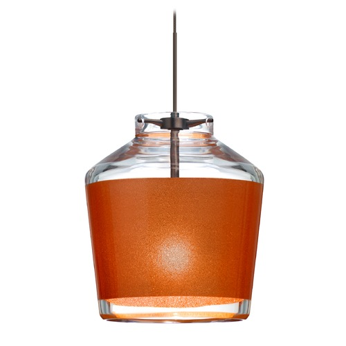 Besa Lighting Besa Lighting Pica Bronze LED Mini-Pendant Light with Empire Shade 1XT-PIC6TN-LED-BR