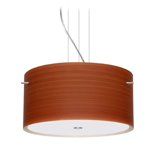 Besa Lighting Besa Lighting Tamburo Satin Nickel LED Pendant Light with Drum Shade 1KV-4008CH-LED-SN