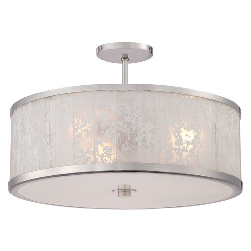 Metropolitan Lighting Metropolitan Lake Frost Polished Nickel Semi-Flushmount Light N7403-613
