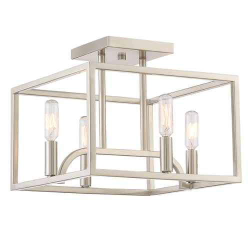 Designers Fountain Lighting Designers Fountain Uptown Satin Platinum Semi-Flushmount Light 88411-SP