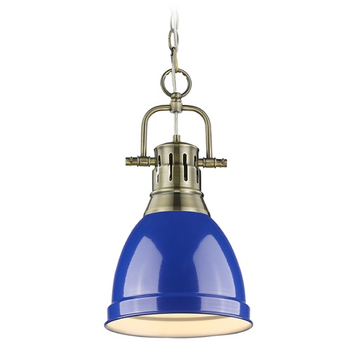 Golden Lighting Golden Lighting Duncan Ab Aged Brass Mini-Pendant Light with Bowl / Dome Shade 3602-S AB-BE