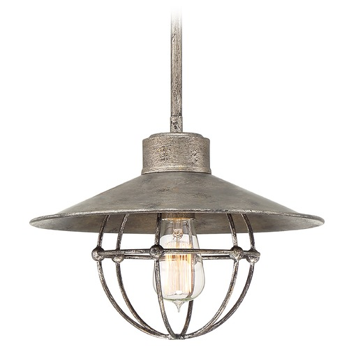 Quoizel Lighting Quoizel Lighting Bilander Mottled Silver Pendant Light with Coolie Shade QP5185MM