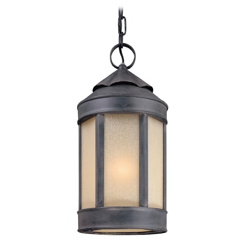 Troy Lighting Outdoor Hanging Light with White Glass in Aged Iron Finish F1468AI