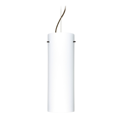 Besa Lighting Modern Pendant Light with White Glass in Bronze Finish 1KX-412807-BR