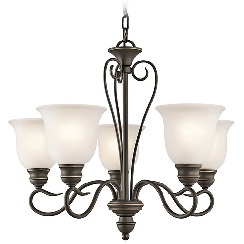 Kichler Lighting Kichler Chandelier with White Glass in Olde Bronze Finish 42906OZ