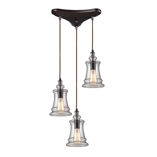 Elk Lighting Modern Multi-Light Pendant Light with Clear Glass and 3-Lights 60042-3