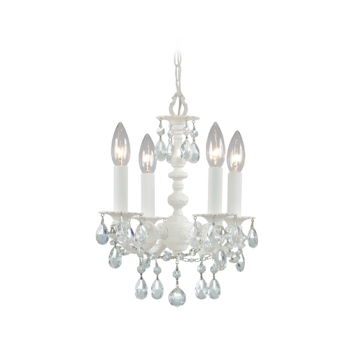 Crystorama Lighting Crystal Mini-Chandelier in Wet White Finish 5514-WW-CL-MWP
