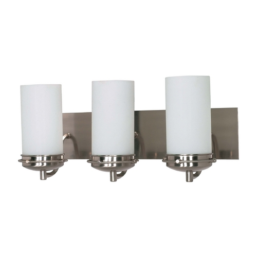 Nuvo Lighting Modern Bathroom Light with White Glass in Brushed Nickel Finish 60/613