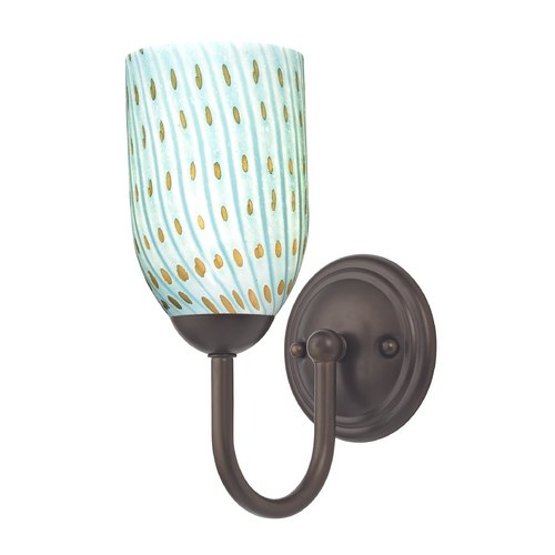 Design Classics Lighting Sconce with Turquoise Art Glass in Bronze Finish 593-220 GL1003D
