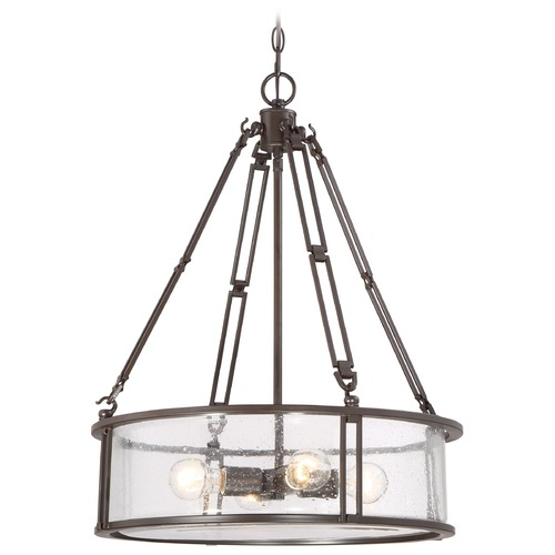 Quoizel Lighting 4-Light Seedy Glass Drum Pendant Light BCN2820WT
