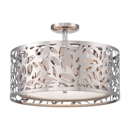 George Kovacs Lighting Modern Semi-Flushmount Light with White Cage Shades in Chrome Finish P7988-077