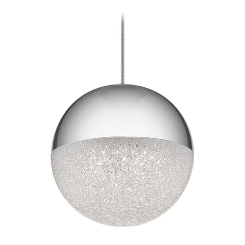 Elan Lighting Elan Lighting Moonlit Chrome LED Pendant Light with Globe Shade 83853