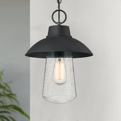 Quoizel Lighting Quoizel East Bay Mottled Black Outdoor Hanging Light with Clear Seeded Glass EBY1911MB
