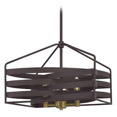 Quoizel Lighting Quoizel Lighting Escher Old Bronze Pendant Light with Square Shade QP5186OZ