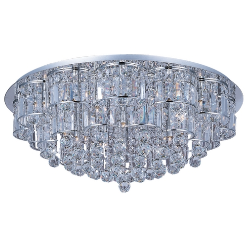 ET2 Lighting Modern Flushmount Light with Clear Glass in Polished Chrome Finish E23259-20PC