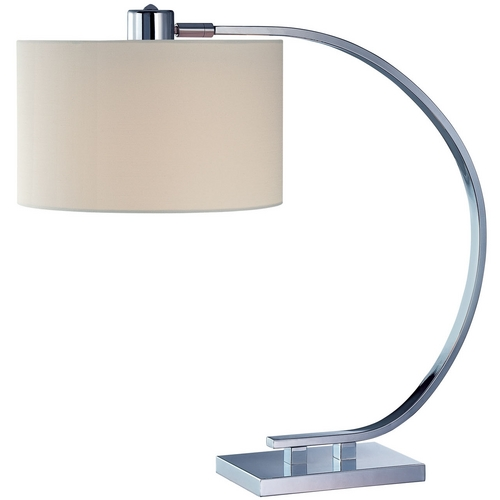 Lite Source Lighting Modern Table Lamp with White Shade in Chrome Finish LS-21652
