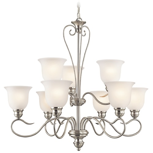 Kichler Lighting Kichler Chandelier with White Glass in Brushed Nickel Finish 42907NI