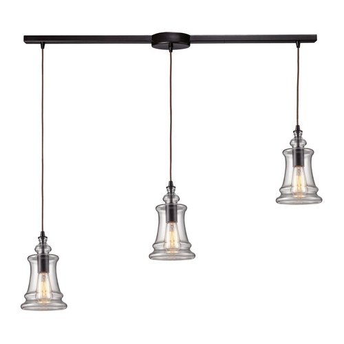 Elk Lighting Modern Multi-Light Pendant Light with Clear Glass and 3-Lights 60042-3L