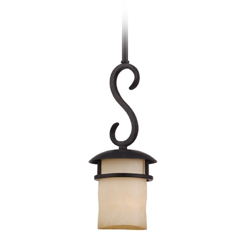 Designers Fountain Lighting Mini-Pendant Light with Amber Glass 84730-NI