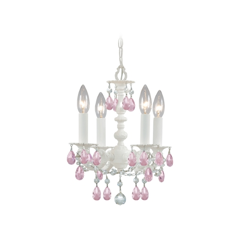 Crystorama Lighting Crystal Mini-Chandelier in Wet White Finish 5514-WW-RO-MWP