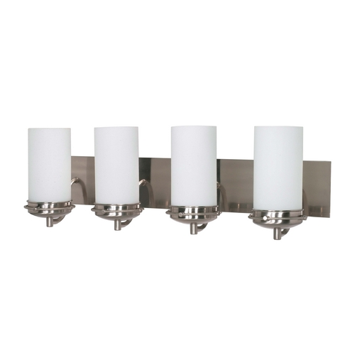 Nuvo Lighting Modern Bathroom Light with White Glass in Brushed Nickel Finish 60/614