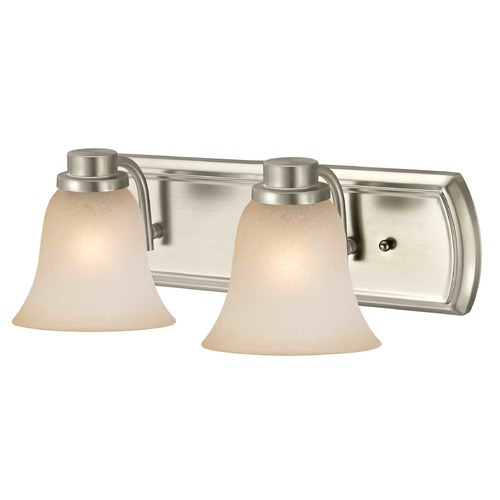 Design Classics Lighting Caramel Glass Bathroom Light in Satin Nickel with 2-Lights 1202-09 GL9222-CAR