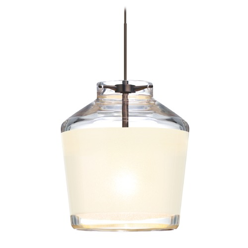 Besa Lighting Besa Lighting Pica Bronze LED Mini-Pendant Light with Empire Shade 1XT-PIC6WH-LED-BR