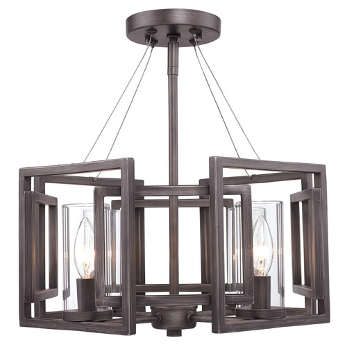 Golden Lighting Golden Lighting Marco Gunmetal Bronze Semi-Flushmount Light 6068-SF GMT