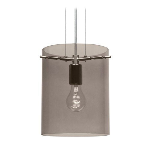 Besa Lighting Besa Lighting Pahu Satin Nickel Mini-Pendant Light with Cylindrical Shade 1KG-S00607-SN-NI