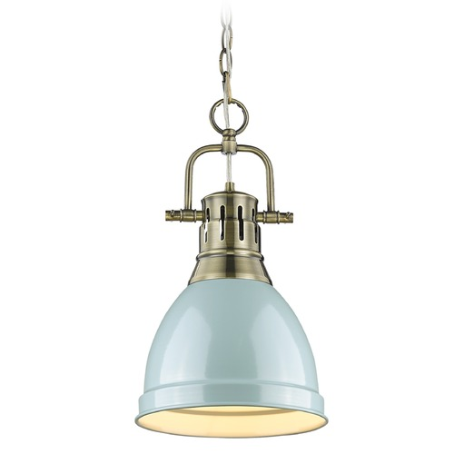 Golden Lighting Golden Lighting Duncan Ab Aged Brass Mini-Pendant Light with Bowl / Dome Shade 3602-S AB-SF
